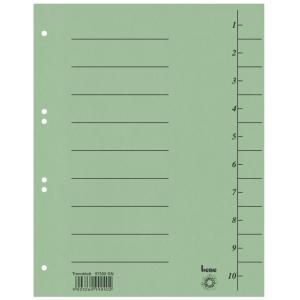 Rozdeľovače číselné kartónové Bene A4 zelené, balenie 100 kusov