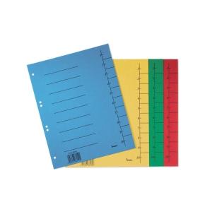 Rozdeľovače číselné kartónové Bene A4 žlté, balenie 50 kusov