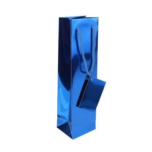 Papierová taška na víno 10 x 8,5 x 36 cm, modrá