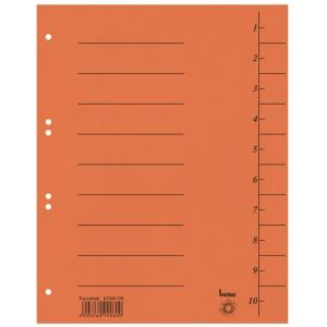 Rozdeľovače číselné kartónové Bene A4 oranžové, balenie 100 kusov
