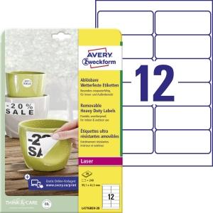 Odnímateľné veľmi odolné polyesterové etikety Avery Zweckform, 12 etikiet/hárok