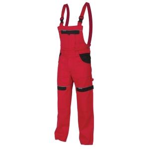 Montérkové nohavice s náprsenkou ARDON Cool Trend, červené, veľkosť 48