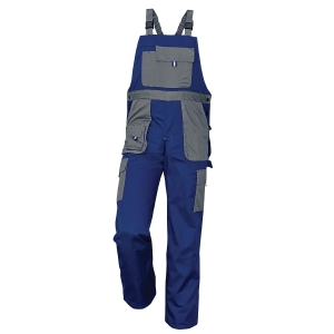Montérkové nohavice s náprsenkou, veľkosť 58, farba modrá/sivá