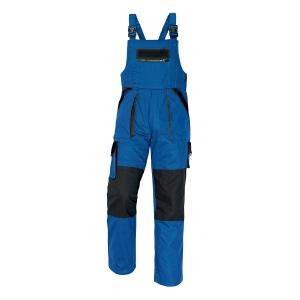 Pánske montérkové nohavice s náprsenkou ČERVA MAX, veľkosť 56, modro-čierne