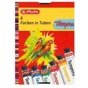 Temperové farby Herlitz,  6 farieb, tuba 16 ml