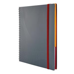 Notizio jegyzetfüzet kemény boritóval és fém spirállal, A5, vonalas, szürke