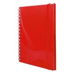 Notizio jegyzetfüzet kemény boritóval és fém spirállal, A5, négyzethálós, piros