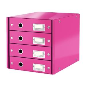 Leitz Click&Store 4-fiókos irattároló, rózsaszín
