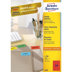 BX2400 ZWF 3448 I+L+C LABELS 70X37MM RED