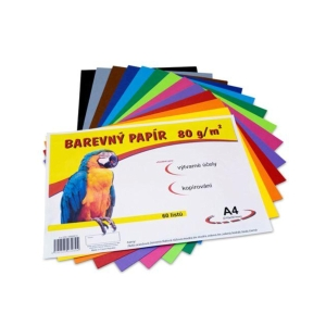 Színes papír, A4, 80 g/m² súlyú, 12 szín, 60 ív/csomag