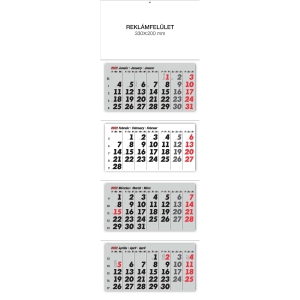 4MONTH WALL CALENDAR 3BLOCKS 33X100