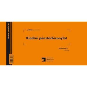 Pátria kiadási pénztárbizonylat, 25 x 2 lap