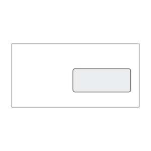 Enyvezett borítékok LA/4 (110 x 220 mm), jobb ablak, fehér, 1 000 darab/csomag