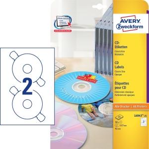 Avery Zweckform L6043-25 CD/DVD címkék, matt fehér, 25 ív, 50 etikett/csomag