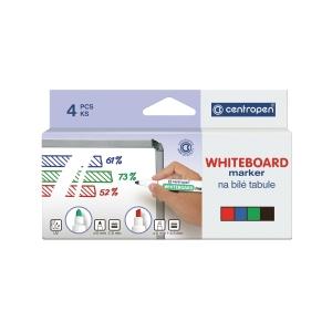 Centropen 8559 marker fehértáblához, gömbölyű hegy, 4 szín/csomag