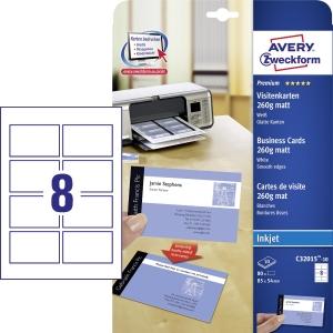 Avery Zweckform névjegykártyák, fehér, matt, 85 x 54 mm, 80 db/csomag
