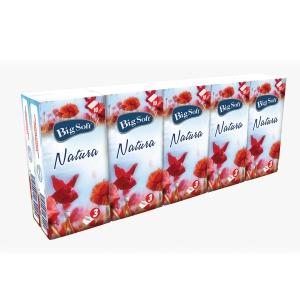 Big Soft Natura papírzsebkendő, 3-rétegű, 10 × 10 db/csomag