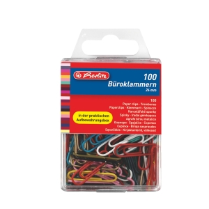 BX100 HERLITZ PAP CLIPS 26MM PLAST MIX