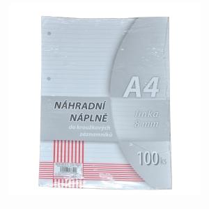 Betölthető lapok A4-es gyűrűs jegyzettömbbe, 100 lap/csomag