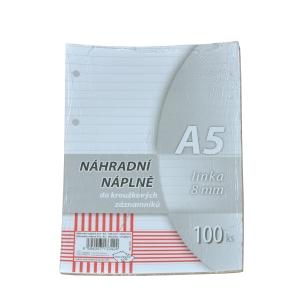 Betölthető lapok A5-ös gyűrűs jegyzettömbbe, 100 lap/csomag
