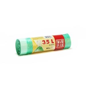 Szemeteszsák, zárószalagos, 35l, 25 zsák/tekercs, zöld