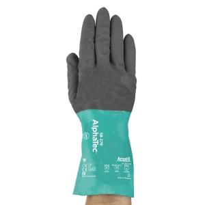 ALPHATEC® 58-270 nitril kesztyű, szürke/zöld, méret: 9; hossz: 30 cm
