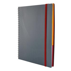 Notizio jegyzetfüzet kemény boritóval és fém spirállal, A5, négyzethálós, szürke