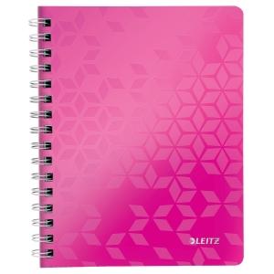 Leitz 4639 WOW spirálozott vonalas jegyzetfüzet, A5, rózsaszín