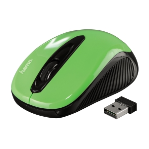 Hama AM-7300 optikai vezeték nélküli egér, zöld/fekete