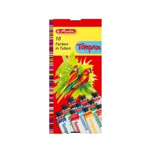 Herlitz temperafesték, 10 tubus - 9 szín, 1x fehér szín, tubus: 16 ml