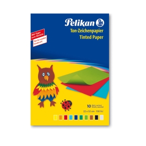 Pelikan színes papír, 33 x 23 cm, 10 lap, 10 szín, 130 g/m²