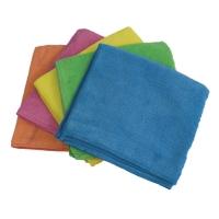 Mikrofaser-Glanztuch, Nodorpro HAU3201, blau/gelb/pink/orange, Packung à 5 Stück