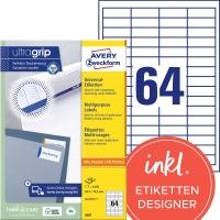 Etiketten Avery Zweckform 3667, 48,5x16,9 mm, Packung à 6400 Stück
