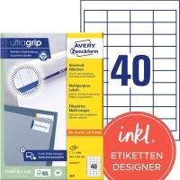 Etiketten Avery Zweckform 3657, 48,5x25,4 mm, Packung à 4000 Stück