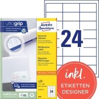 Etiketten Avery Zweckform 3658, 64,6x33,8 mm, Packung à 2400 Stück