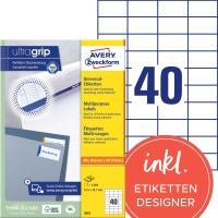 Etiketten Avery Zweckform 3651, 52,5x29,7 mm, Packung à 4000 Stück