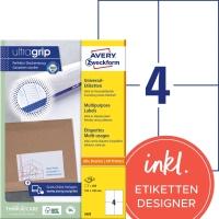 Etiketten Avery Zweckform 3483, 105x148 mm, weiss, Packung à 400 Stück