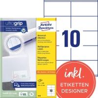 Etiketten Avery Zweckform 3425, 105x57 mm, weiss, Packung à 1000 Stück
