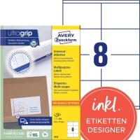 Etiketten Avery Zweckform 3426, 105x70 mm, weiss, Packung à 800 Stück
