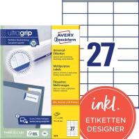 Etiketten Avery Zweckform 3479, 70x32 mm, weiss, Packung à 2700 Stück