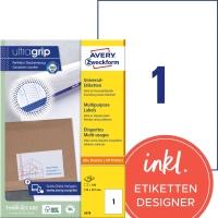 Etiketten Avery Zweckform 3478, 210x297 mm, weiss, Packung à 100 Stück