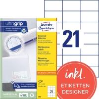 Etiketten Avery Zweckform 3652, 70x42,3 mm, weiss, Packung à 2100 Stück