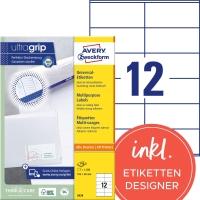 Etiketten Avery Zweckform 3424, 105x48 mm, weiss, Packung à 1200 Stück