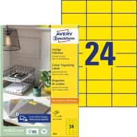 Etiketten Avery Zweckform 3451, 70x37 mm, gelb, Packung à 2400 Stück