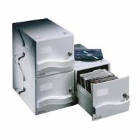 CD/DVD-Aufbewahrungsbox Dataline, für 25 CD/DVDs, grau