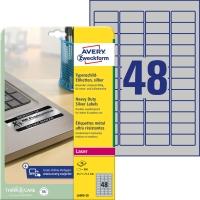 Etiketten Avery Zweckform L6009, 45,7x21,2 mm, Typenschild, silber, Pk.à 960 Stk