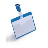Namensschilder Durable 8106-06, 60x90 mm, mit Clip, quer, blau