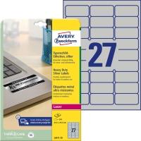 Etiketten Avery Zweckform L6011, 63,5x29,6 mm, Typenschild, silber, Pk.à 540 Stk