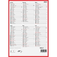 Wandkalender Biella 871407, mit Notizraum, 1/2 Jahr pro Seite, deutsch