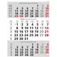 Monatskalender Simplex 970009, 3 Monate pro Seite, grau/rot